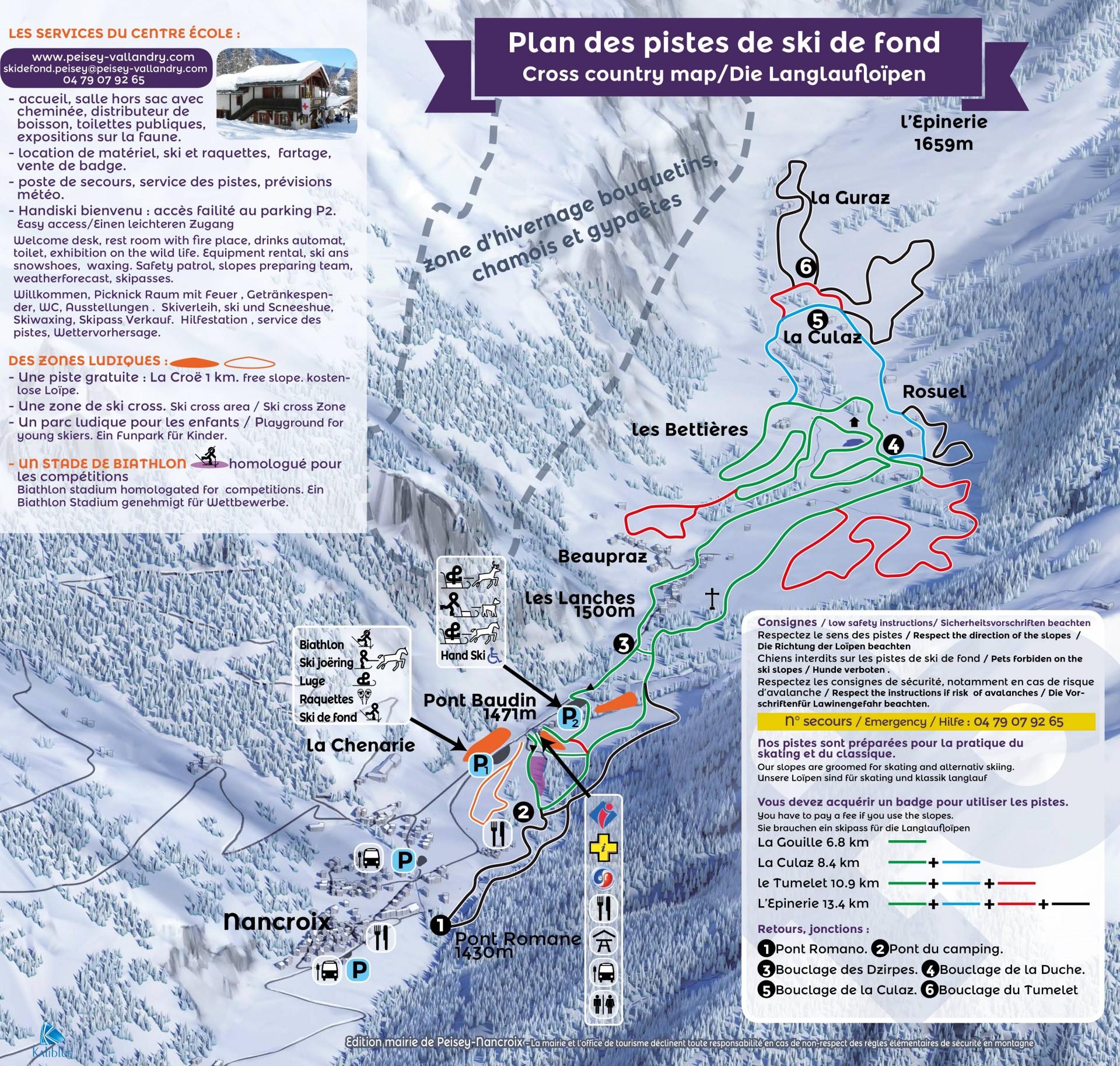 Plan des pistes Site nordique Pont Baudin