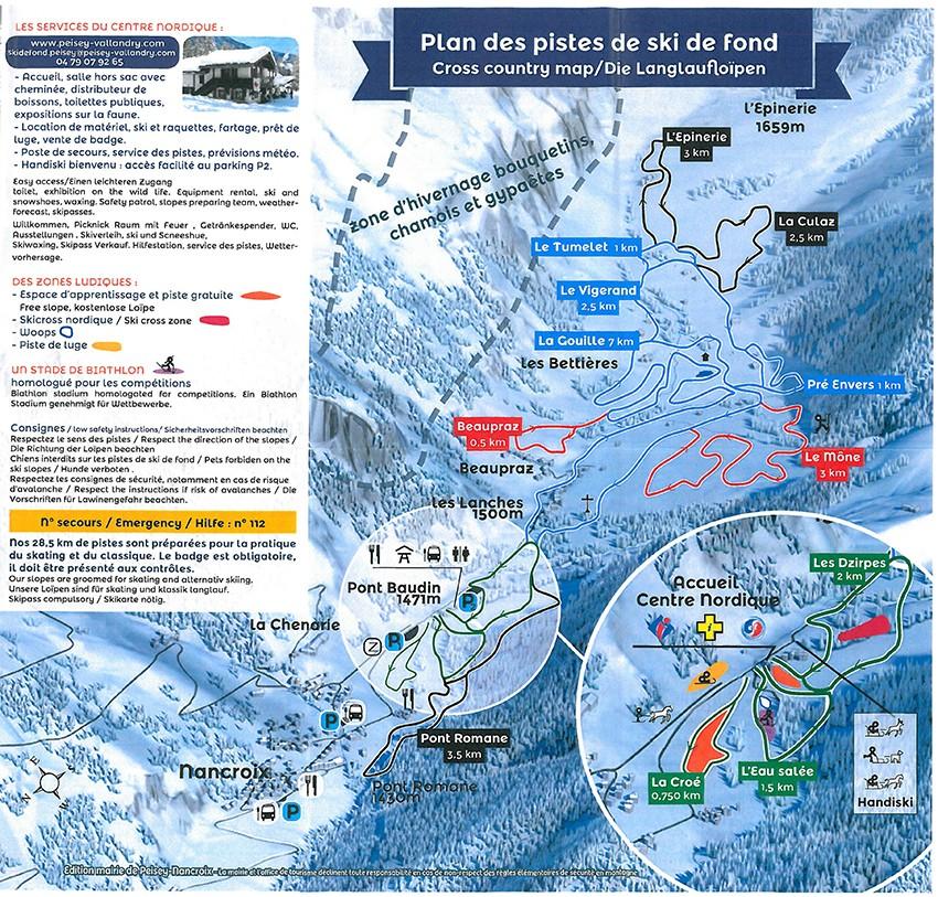 Plan des pistes ski nordique 2017-2018